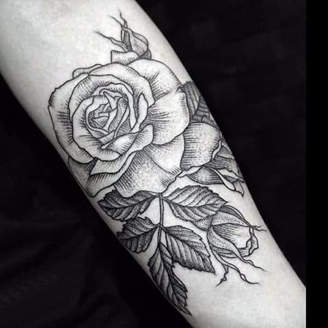 Тату гравюра с розой