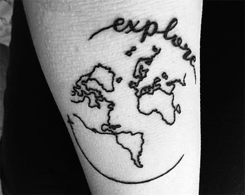 Тату карта мира - фото