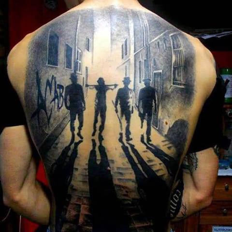 3Д татуировка на спине