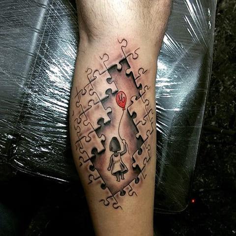 3Д татуировка на ноге
