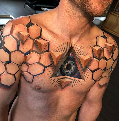3Д татуировки у мужчины - фото