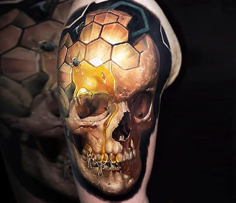3Д татуировка с черепом
