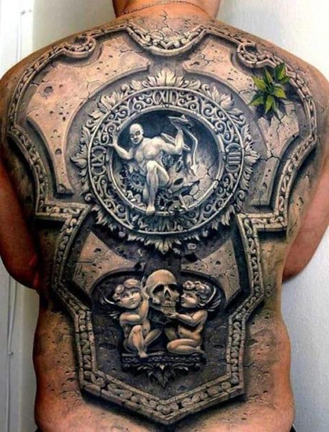 3D татуировка на спине