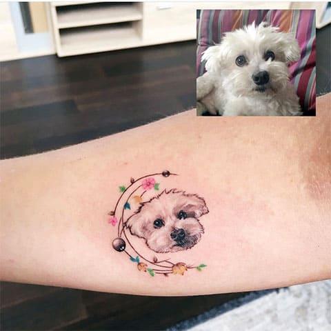 Тату собака на руке - фото
