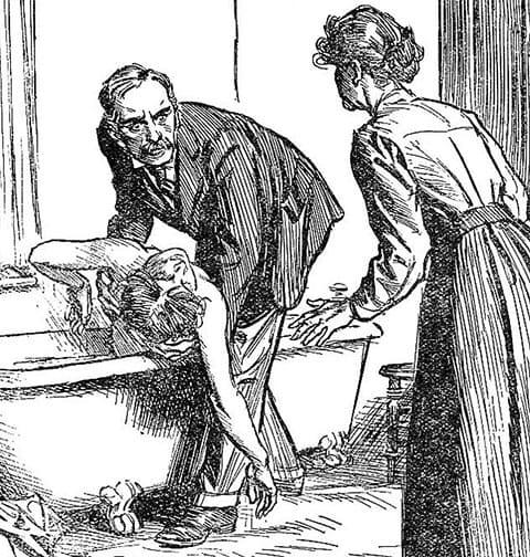 Каррикатура: Джордж Смит вместе с владелицей квартиры находит тело жены в ванне