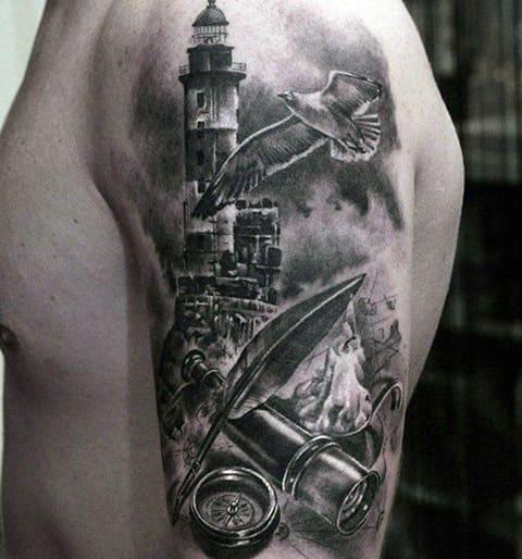 Сюжетная татуировка с маяком