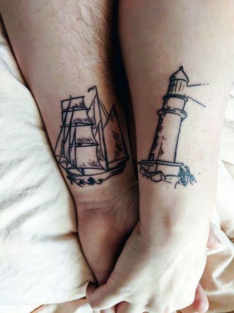 Парная тату маяк и корабль