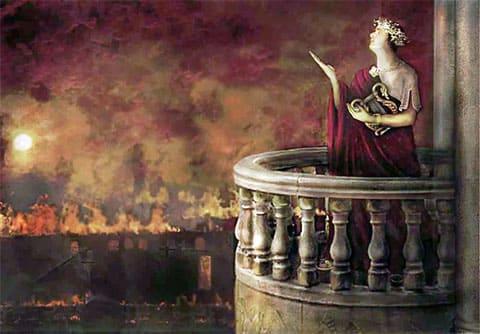 Нерон наблюдает за пожаром в Риме