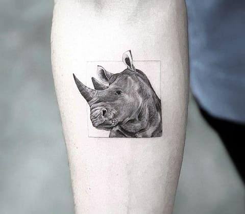 Тату голова носорога
