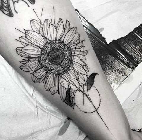 Татуировка подсолнух - фото