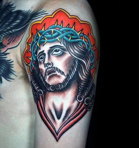 Цветная татуировка Иисус Христос