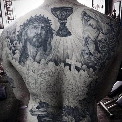 Тату Иисус Христос на спине