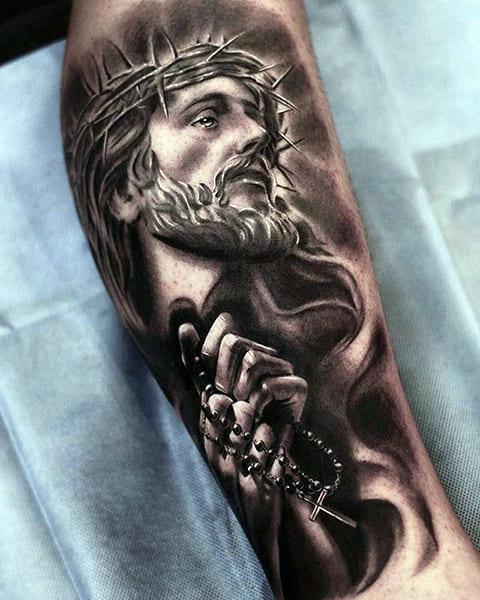 Тату Иисус Христос на предплечье