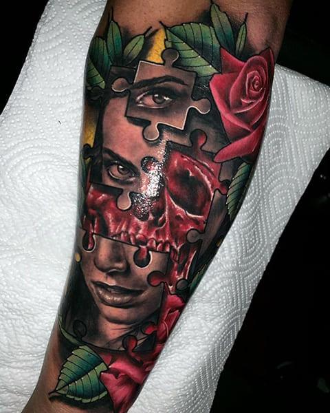 Татуировка в виде пазла