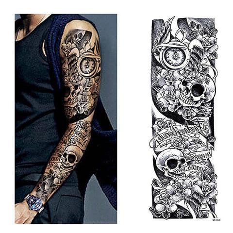 Черно-белый эскиз тату-рукава для мужчины