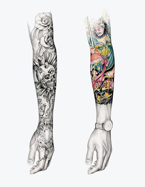 Эскиз для тату-рукав для мужчин