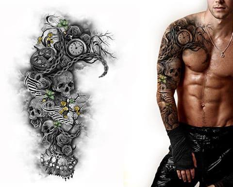 Эскиз тату-рукава для мужчин