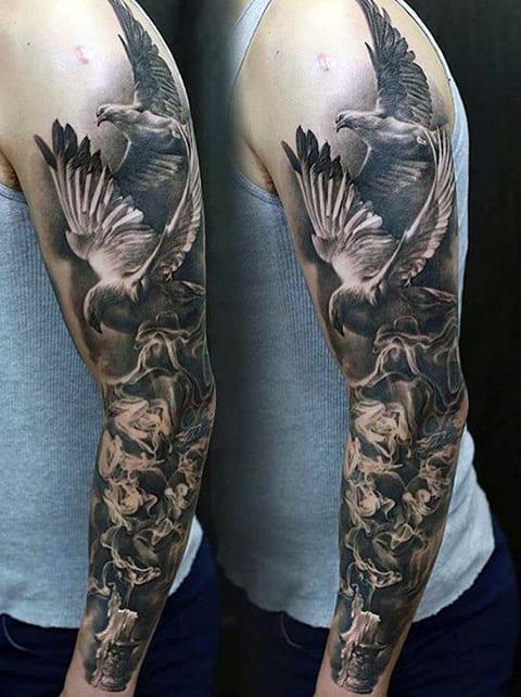 Тату-рукав с птицами у мужчины - фото