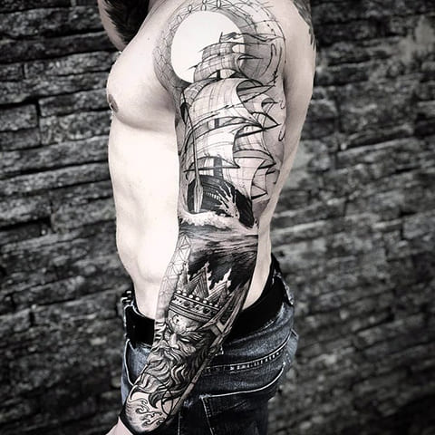 Морская тату рукав