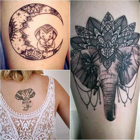 Татуировки со слонами - фото