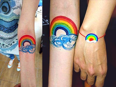 Татуировки с радугой - фото