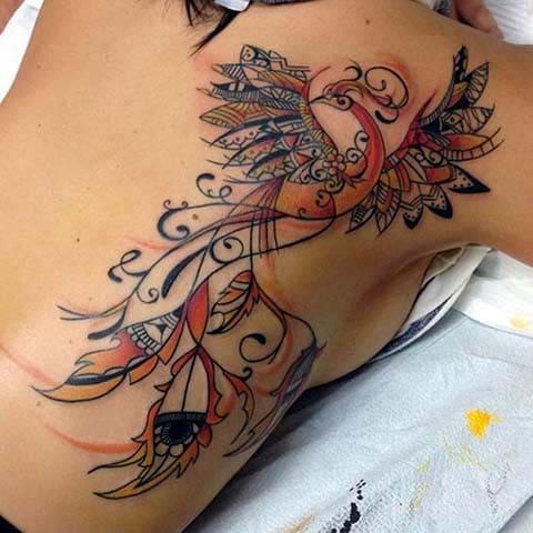 Татуировка жар птица для девушек