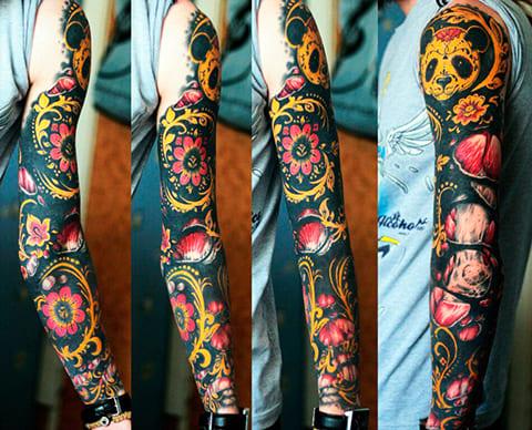 Татуировка хохлома на руке
