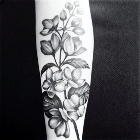Тату цветы жасмина