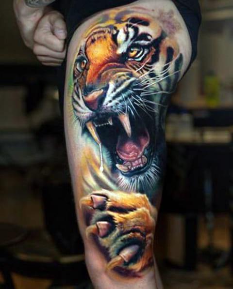 Тату оскал тигра
