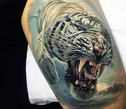 Татуировка оскал тигра - фото