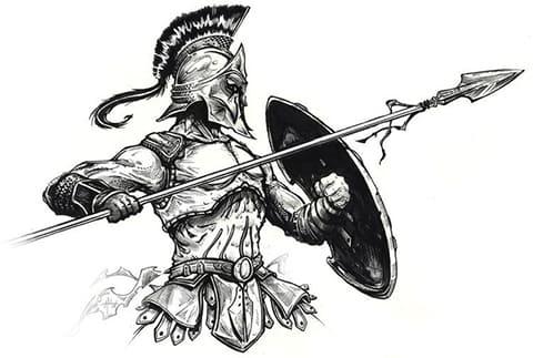 Эскиз гладиатора для тату