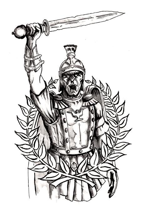 Гладиатор - эскиз для тату