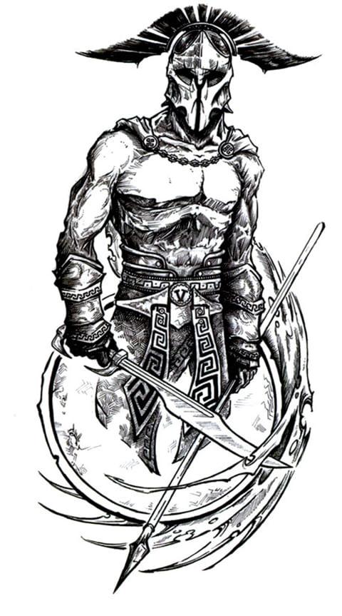 Эскиз гладиатора для татуировки
