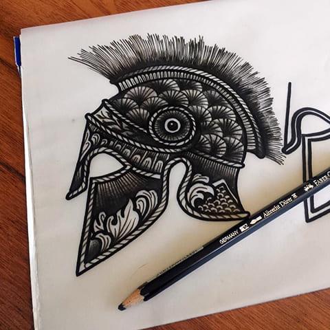 Эскиз шлем гладиатора для тату