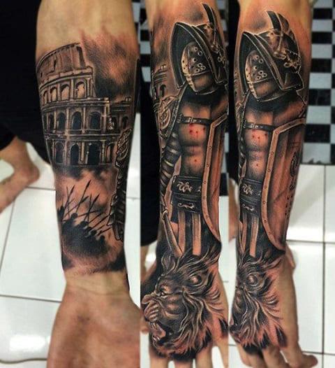 Татуировка гладиатора на руке