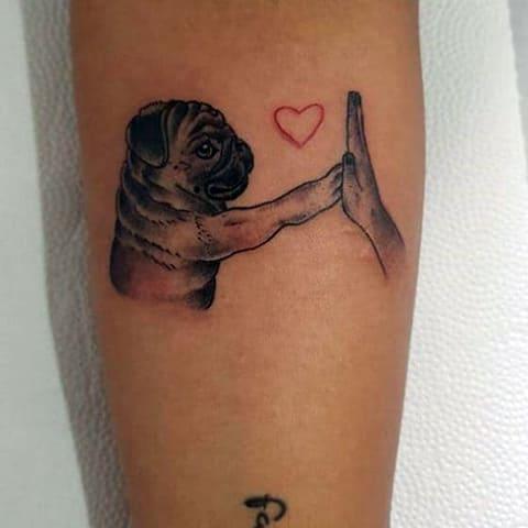 Татуировка с мопсом