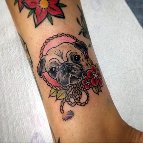 Татуировка мопс - фото