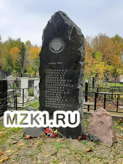 Надгробие погибших во время взрыва на Котляковском кладбище