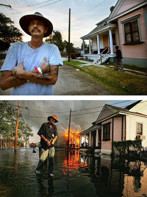 Вверху: 23 августа 2010 года Роберт Фонтейн стоит на месте в Новом Орлеане, штат Луизиана, где когда-то стоял его дом, сгоревший после прохождения урагана Катрина, пять назад. Фонтейн говорит, что остался дома, чтобы присмотреть за собаками. Из-за отсутствия электричества освещал дом свечами, и одна из собак перевернула свечу, вызвав пожар. «Вся моя жизнь, весь мой мир рухнул. Для всех, не только для меня». Внизу: Роберт Фонтейн идет мимо горящего дома 6 сентября 2005 года в Новом Орлеане, штат Луизиана. (Getty Images / Mario Tama)