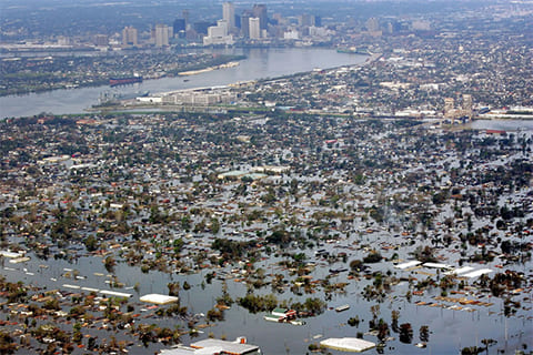 Затопленная часть Нового Орлеана 30 августа 2005 года. (AP / David J. Phillip)