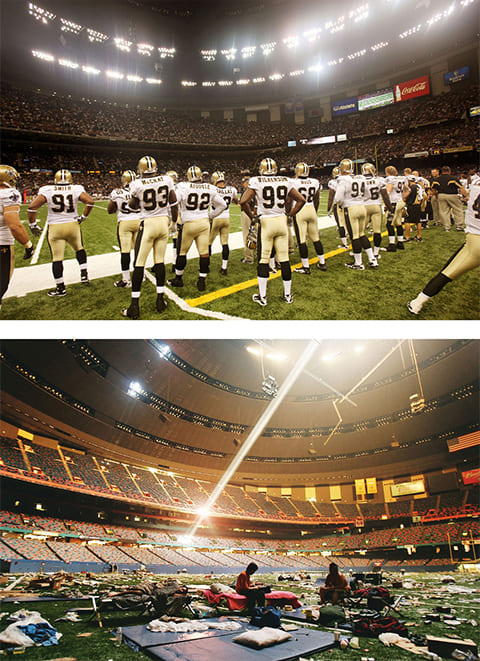 Вверху: футбольная команда «New Orleans Saints» во время матча против «Houston Texans» на стадионе «Superdome» в Новом Орлеане 21 августа 2010 года. Внизу: 2 сентября 2005 года жертвы урагана Катрина на стадионе «Superdome», который тогда стал убежищем для пострадавших от стихии. (Getty Images / Mario Tama)