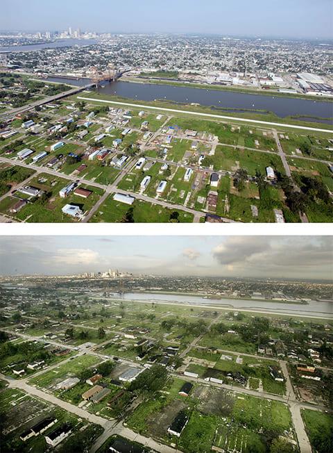 Вверху: район Лоуэр Найнс Уорд в Новом Орлеане.с новостройками 24 августа 2010 года Внизу: тот же район 25 августа 2006 года. (Getty Images / Mario Tama)