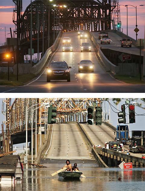 Вверху: автомобили едут по мосту через Промышленный канал 23 августа 2010 года. Внизу: двое мужчин плывут на лодке по затопленному мосту через Промышленный канал 31 августа 2005 года. (Getty Images / Mario Tama)