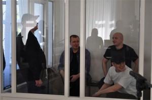Подсудимые (слева-направо: Герус, Попов, Будько, Шестаков) накануне оглашения приговора.