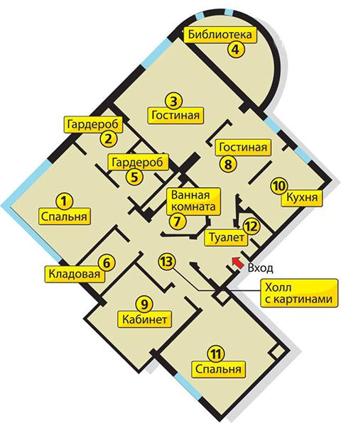 Расположение комнат в квартире Васильевой, где она провела 2,5 года домашнего ареста