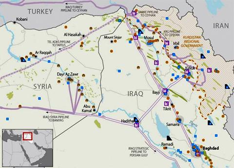 Зеленым обозначены районы добычи нефти, фиолетовым - НПЗ и хранилища
