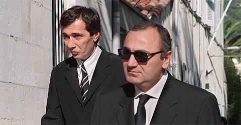 Слева: воры в законе Мераб Джангвеладзе и Тариел Ониани (1998год)