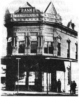 Банк «Кондон и К°» в Коффейвилле, сфотографированный вскоре после налета банды Далтонов