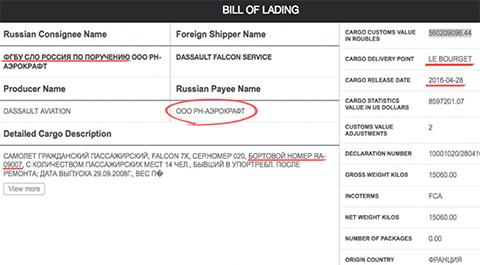 Таможенная декларация ООО «Авиаброкер» на Falcon 7X компании «Роснефть»