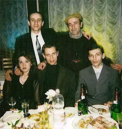 Воры в законе, верхний ряд слева: Рамаз и Пецо, снизу: Синий и Бадри, 1993 год, Москва
